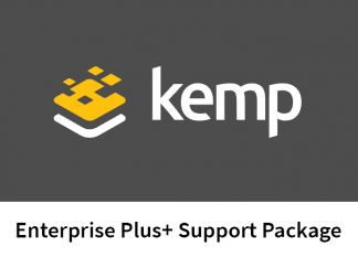 "the Kemp logo, with text reading ""Kemp Enterprise Plus+ Support Package"" below it."