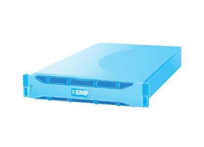 a blue virtual server, representing the Kemp Loadmaster Geo.