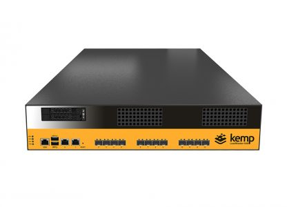 the Kemp Loadmaster X40 appliance, a large box with a multitude of ports on its front.