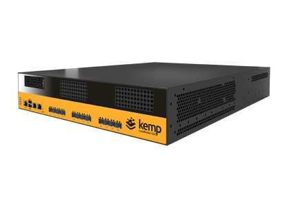 the Kemp Loadmaster X25 appliance, a large box with a multitude of ports on its front.