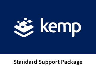 "the Kemp logo, on a blue background, with the text ""Kemp Standard Support Package"" below the logo."
