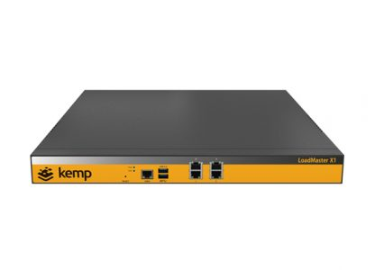 the Kemp Loadmaster X-1, a physical IT load balancing appliance, with 4 ethernet ports and two other ports on its front.